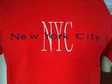 Vintage USA FTL Fruit of Loom NYC New York City Emb L 100% Cotton Red SS T-shirt