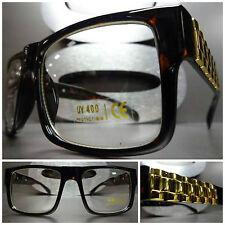 Men or Women VINTAGE STYLE Clear Lens EYE GLASSES Tortoise Frame Gold Chain Link