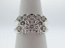 Genuine Diamonds Band Solid 14K White Gold Wedding Ring Set FREE Sizing