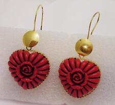 Orecchini cuore Vintage Corallo Rosso e Ag 925 x lobi forati OMA19