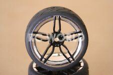 RC 1/10 CAR TIRES WHEELS RIMS SEMI- SLICKS KYOSHO TAMIYA HPI BLACK CHROME LIP