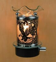Electric Metal Plug In No Cord  Night Light Tart Burner Oil Warmer Clear Eagle