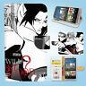 HTC One M7 M8 M9 Print Flip Wallet Case Cover Naruto Sasuke W004