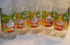 5 Vintage Camp Snoopy Collection Peanuts McDonalds Glasses Never Used/Near Mint!
