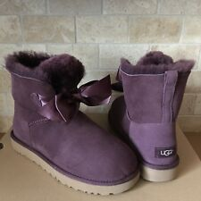 UGG GITA BOW SATIN PORT SUEDE FUR SHORT / ANKLE BOOTS BOOTIES SIZE 10 WOMENS