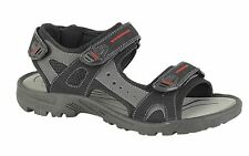 Mens Sports Sandals 3 Touch Fastening Black Faux Suede Shoes Size