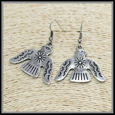 Rustic Hammered Metal Silver Black Patina Thunderbird Small Earrings Wire