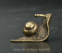 40MM Collect Small Curio Chinese Bronze Exquisite Lovable Animal Snail Statue 蜗牛