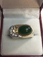 14K Yellow Gold Jade Fine Diamond Vintage Wide  Ring Size 9