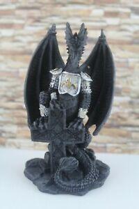 1schwarzer Drachen mit Kreuz Dekoration Mystic Gothic Figur Deko -1138-