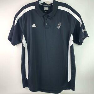 Adidas The Finals San Antonio Spurs Men's XL Black White Polo Shirt NBA Texas