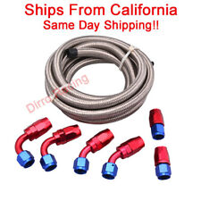 8AN 1/2 in Stainless Steel Braided Fuel Line + 6 Pc RdBl Swivel Fitting Hose End