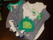 Gymboree Boys 3-6 Month GREEN Pea Complete Outfit Jacket, One Piece, Pants, Sock