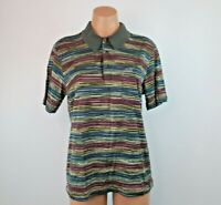 VTG Missoni Sport Short Sleeve Multi Colored Striped Polo Shirt Sz Small Ribbed