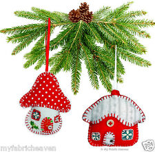 2 X Christmas Decoration Ornament EASY Sewing PATTERNS Snowy Cottage & Toadstool