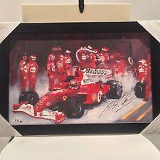 Ferarri F1 Painting Signed by Michael Schumacher (Artist: John Arcaro)
