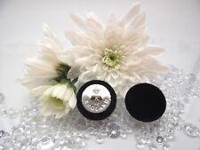 """Tejido de terciopelo cubierto botones negro """"Inglaterra"""" Metal Color Plateado Tamaño 23 mm. 0.9"""""""