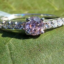 Ring Pink CZ 925 Sterling Silver Rhodium Size 7 Accent Natural Topaz