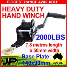 2000LBS HAND WINCH GEAR SYSTEM  HEAVY DUTY SYNTHETIC BELT BOAT TRAILER CAMPER