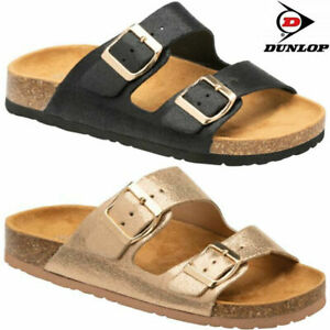 Ladies Dunlop Cushion Foam Walking Sliders Strappy Summer Mules Sandals Shoes