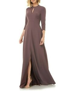 Kay Unger Hannah Women's Stretch Crepe Evening Gown Maxi Dress in Mink Size 10