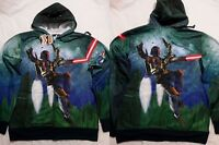 Star Wars Boba Fett Shooting Gun Costume Zip up Hoodie Jacket Shirt