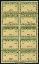 SD Antelope 1 sheet of 10 mint, NH, VF
