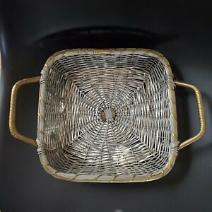UNIQUE Hand Woven Two Tone Silver and Gold Metal Decorative Accent/Fruit Basket