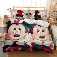 Mickey Minnie Duvet Cover Pillow Cases Bedding Set Mickey Mouse Cartoon Art