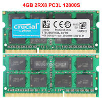For Crucial 4GB 2Rx8 PC3L-12800S DDR3-1600Mhz 204Pin SODIMM Laptop Memory RAM