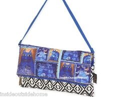 Laurel Burch Indigo Cats Medium Shoulder Tote Bag Flap Over Clutch Russian Blu N
