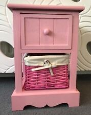 Pink Bedside Table Wicker Storage Basket Bedroom Furniture Girls Cabinet