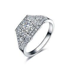 Women Ring 18K Gold Plated Engagement Fashion Jewelry Princess Cut Wedding Rings
