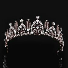 Coffee Gold Plated Half Head Crown Tiaras Hair Headdress Clear Rhinestone Pearl