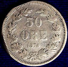 50 ORE 1878 EB SVEZIA SWEDEN ARGENTO SILVER #1415A