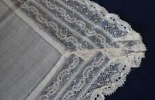 Antique Valenciennes Lace Hanky Ecru Linen Center Embroidered Net Bridal