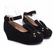 Black Cute Buckle Kids Girls Bunny Ears Wedge Heels Youth Dress Shoes Size 9