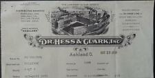 Dr. Hess & Clark 1936 Invoice Dr. Hess Line Stock & Poultry Remedies Ashland, Oh
