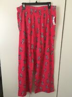 Hue Women's Sleepwear Pajama Bottom Sleep Pant Size 1X 2X 3X Pinkish Red w/ Cats