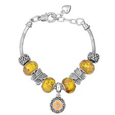 NEW Silver Yellow Flower Butterfly Murano Beads Charm Bracelet Brighton Bay