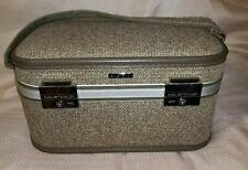 "Halston III Tweed 15"" Overnight Make Up Train Case Strap Vintage"
