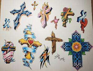 vintage original '94 tattoo flash inkee cross crucifix jesus christ from monk