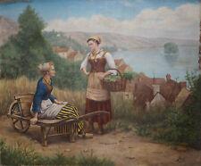 Tableau Marine Le Retour de marché - Peter BAYER (1871-1919) ? Bretagne ?