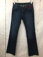 Ed Hardy Jeans Dark Wash Beaded Embellished Floral Boot Cut Women's Size 26