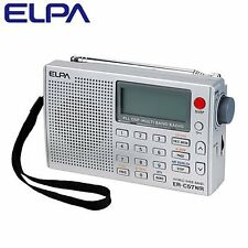 JP ELPA World Band Receiver Portable Radio FM・AM・SW・LW・AIR Alarm Auto Scan Light