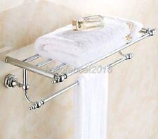 Chrome Brass Wall Mount Bathroom Accessories Shelf Towel Rack Holder  lba901