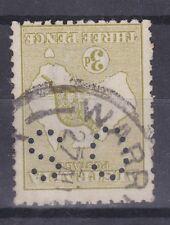 K213) Australia 1915 3d Olive Kangaroo Die I, 3rd wmk. Inverted, perf OS