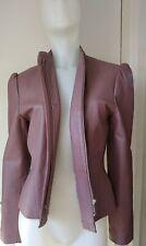 Kit Mauve Leather Biker Jacket Puff Shoulders Ladies Womens Size 10 Lovely!