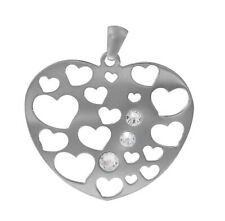 Rhodium Plated on Sterling Silver, Heart Shape Pendant with Swarovski Crystal