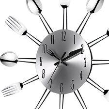 3D Wall Clock Stainless Steel Kitchen Wall Watch Quartz Needle Clock Decorate